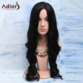 Elegant Black Long Heat-Resistant Synthetic Wig For Women - BLACK