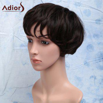Heat Resistant Synthetic Towheaded Curly Short Fashion Brown Side Bang Capless Men's Wig - BROWN