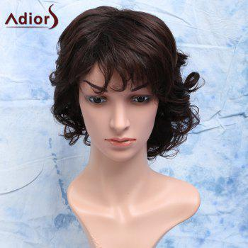 Trendy Heat Resistant Synthetic Shaggy Curly Capless Full Bang Short Dark Brown Men's Wig - DARK BROWN DARK BROWN