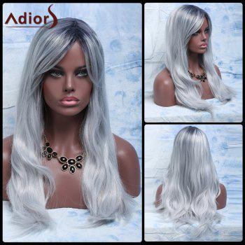 Fluffy Natural Wave Attractive Long Gray Mixed Synthetic Adiors Wig For Women