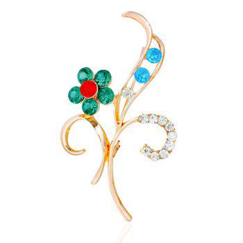 Leaf Flower Rhinestone Brooch - GREEN GREEN
