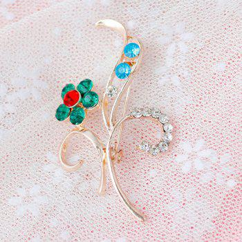 Leaf Flower Rhinestone Brooch -  GREEN