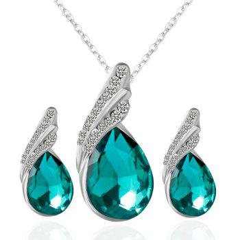 Fake Crystal Rhinestone Teardrop Jewelry Set
