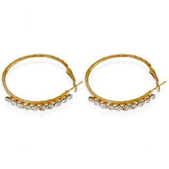Pair of Rhinestone Embossed Hoop Earrings