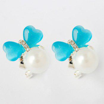 Pair of Faux Pearl Heart Stud Earrings