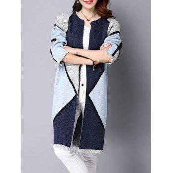 Color Block Thick Long Knitted Coat