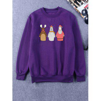 Crew Neck Flocking Funny Christmas Sweatshirt