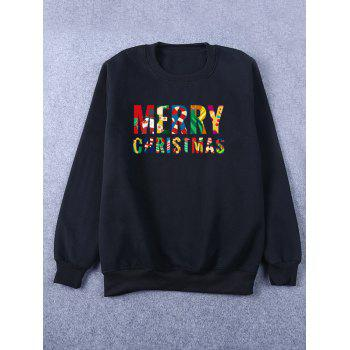 Flocking Crew Neck Merry Christmas Sweatshirt