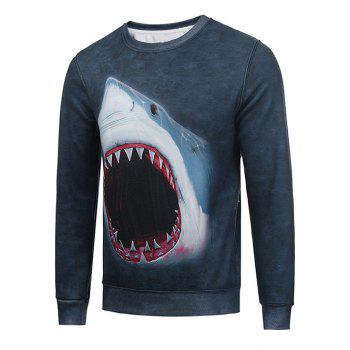 Buy Flocking Crew Neck 3D Shark Print Sweatshirt DEEP GRAY