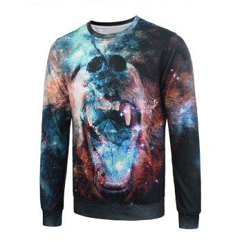 Flocking 3D Galaxy Bear Graphic Trippy Sweatshirt