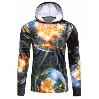 Hooded 3D Fireworks Print Flocking Trippy Hoodie