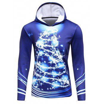 Hooded 3D Christmas Tree Print Flocking Hoodie