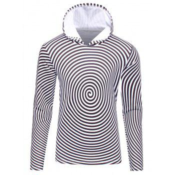 Hooded 3D Spiral Stripe Print Flocking Hoodie