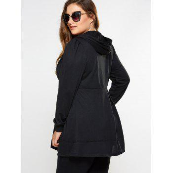 Zip Up Skirted Plus Size Hoodie - BLACK 2XL