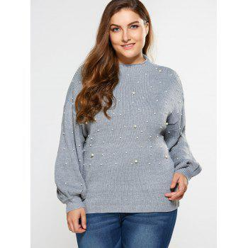 Loose Faux Pearl Embellished Sweater - LIGHT GRAY 5XL
