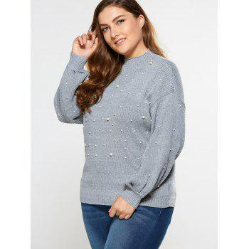 Loose Faux Pearl Embellished Sweater - LIGHT GRAY 4XL