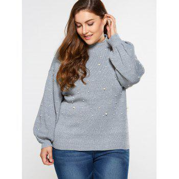 Loose Faux Pearl Embellished Sweater - LIGHT GRAY 2XL