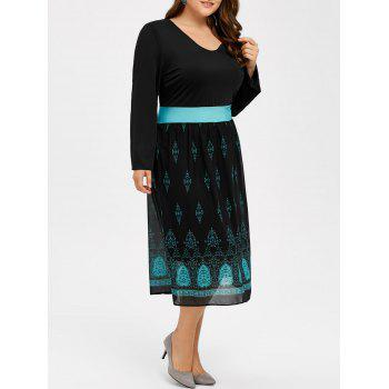Printed V Neck Casual Midi Dress With Sleeve