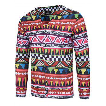 V Neck Colorful Geometric Print Single Breasted Jacket
