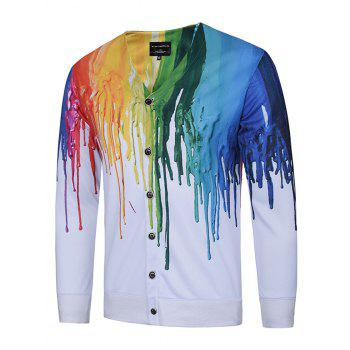 V Neck 3D Colorful Splatter Paint Print Single Breasted Jacket