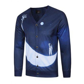V Neck 3D Moon and Spaceman Print Single Breasted Jacket