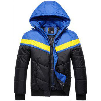 Color Block Spliced Hooded Zip Up Thicken Padded Jacket