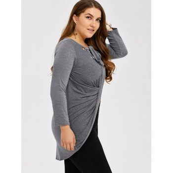 High Low Lace Up Tee - LIGHT GRAY 3XL