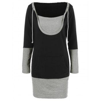 Drawstring Sheath Hooded Dress