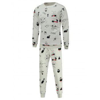 Crew Neck Cartoon Print Sweatshirt and Jogger Pants Twinset