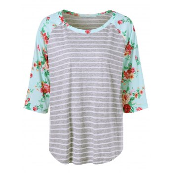 Plus Size Floral and Striped Tee