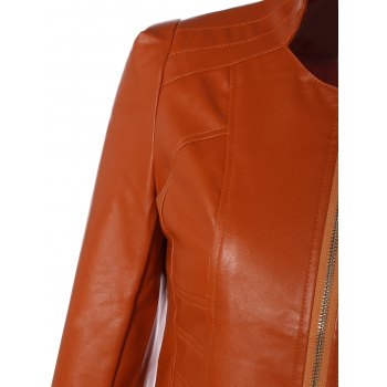 Slim Fit Faux Leather Jacket - ORANGE 3XL