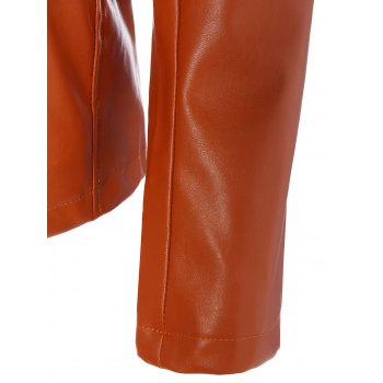Slim Fit Faux Leather Jacket - ORANGE M