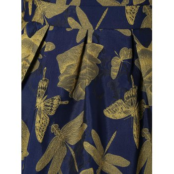 Butterfly Dragonfly Jacquard A Line Dress - GINGER 2XL