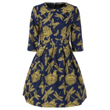 Butterfly Dragonfly Jacquard A Line Dress