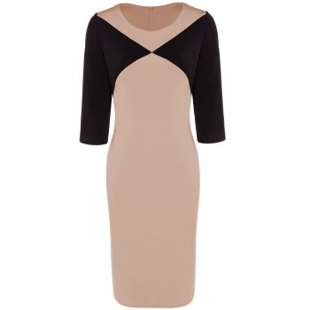 Knee Length Two Tone Sheath Dress