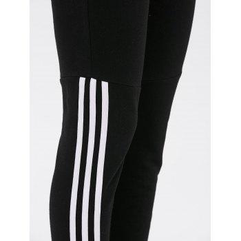 Striped Sport Running Leggings - BLACK XL