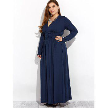 Long Sleeve Plus Size Formal Dress - DEEP BLUE L