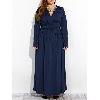 Long Sleeve Plus Size Empire Waist V Neck Formal Maxi Dress