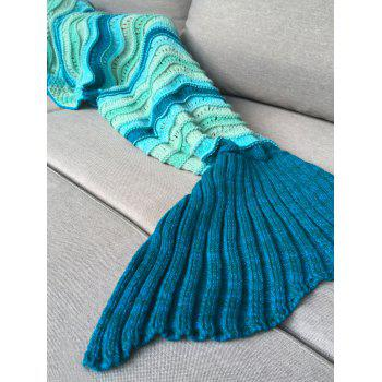 Knitted Open Work Color Splicing Kid's Mermaid Blanket - COLORMIX