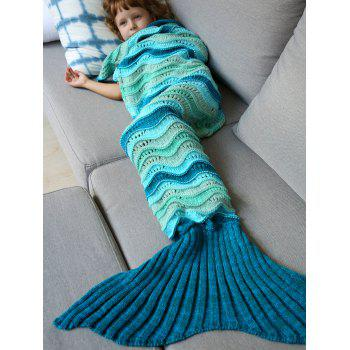 Knitted Open Work Color Splicing Kid's Mermaid Blanket