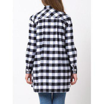 Loose Fit Long Sleeve Checkered Shirt - BLACK 2XL