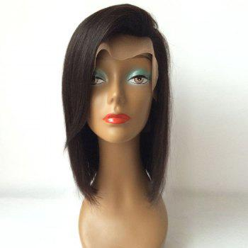Bob Style Straight Side Parting Lace Front Human Hair Wig - BLACK