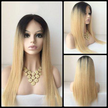 Long Middle Part Straight Human Hair Lace Front Wig - COLORMIX COLORMIX