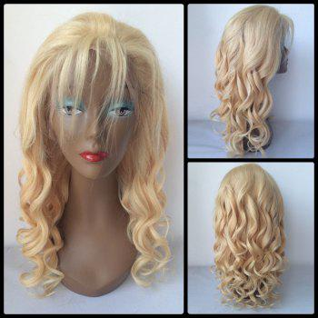 100 Percent Human Hair Fluffy Long Curly Lace Front Wig - GOLDEN GOLDEN