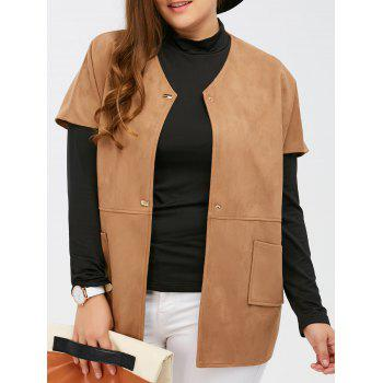 Suede Short Sleeves Jacket with Mock Neck Tee