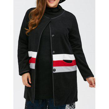 Plus Size Woolen Varsity Striped Long Coat