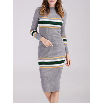 Striped Long Sleeve Midi Fitted Sweater Dress