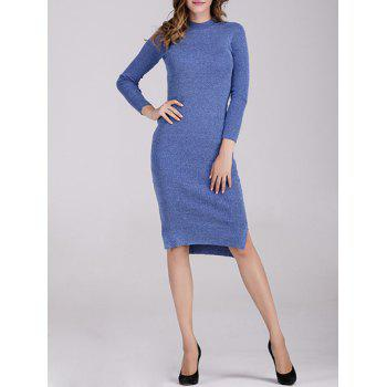 Long Sleeve Fitted Midi Jumper Dress - BLUE ONE SIZE