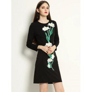 Embroidery Long Sleeve Dress - BLACK M