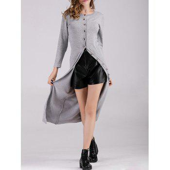 Long Button Up Fitted Cardigan